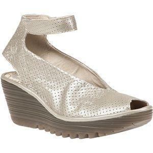 Fly London NWOB Yala Silver Pewter Peep Toe Shoes